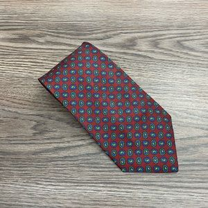 Burberry Red w/ Green & Blue Paisley Check Tie